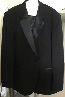 After Six Tuxedo Jacket size 46 Black Wool 46L 2 Button Preowned