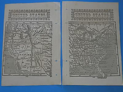 "Antique Original Map Of ""united States""  From 1852;  9"" X 7"". Original From Book"
