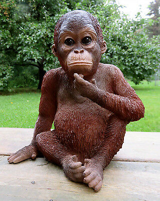 Orangutan Sitting Statue Figurine Jungle Animal Monkey Decor Resin 9 inches Ape