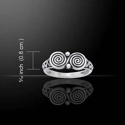 Inspired by Ancient Irish Celtic Art -  Double Spiral Celtic Knot Silver Ring