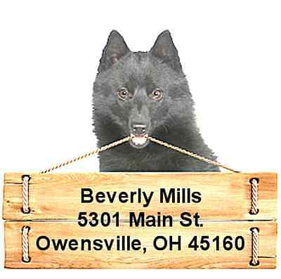 Schipperke return address labels die cut to shape of dog and sign