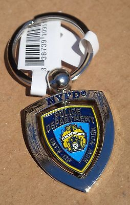 Nypd City Of New York Police Department Badge Key Chain Silver Metal Swivel