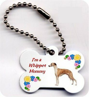 Mom Dog Bone Whippet key chain metal 2 sided