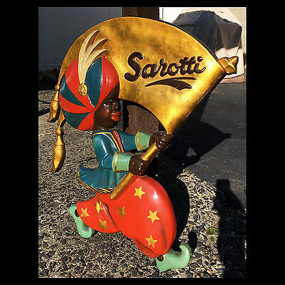 "Antique SAROTTI Chocolate Candy 29"" Advertising Sign Figure Blackamoor Mohr WOW."