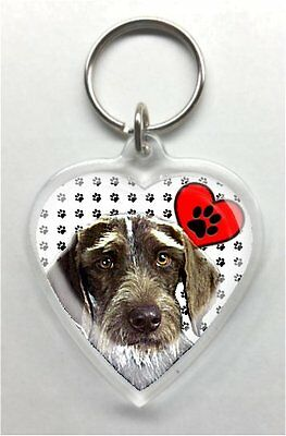 German Wirehaired Pointer Heart Shaped acrylic Key Ring/chain