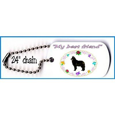 """Belgian Sheepdog Dog tag necklace metal 24"""" chain"""