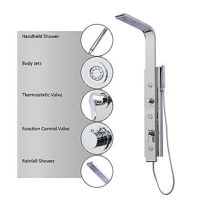 HOMCOM Shower Panel 20cm Bathroom Stainless Steel Massage Thermostatic Faucet