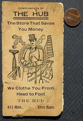 1906 Terre Haute,Indiana The Hub Clothing Store pocket memo booklet-VINTAGE!