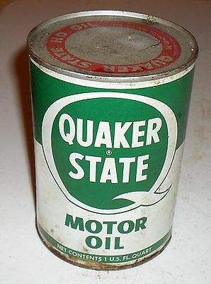 Vintage Quaker State Motor Oil One Quart Can  - Full Can