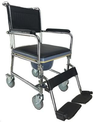 Wheeled Commode Transit Mobile Toilet Chair Bathroom Aid Steel Frame 4 Brakes