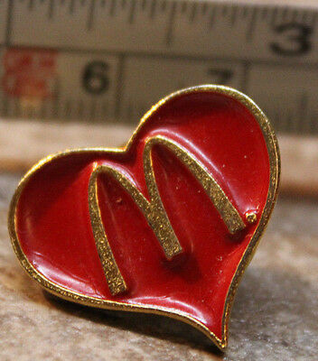 McDonalds Valentines Day Heart Arches Employee Collectible Pinback Pin Button