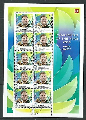 Australia 2016 Paralympian Of The Year Full Sheet  Fine Used