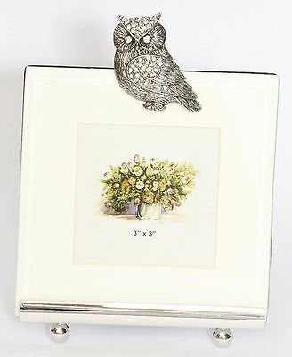 """Owl Picture or Photograph  Small Photo 3""""x3 """" opening Frame Gift Boxed"""