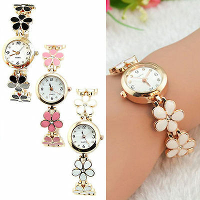 Fashion Women Flower Round Dress Watch Quartz Analog Bracelet Wrist Watches Gift