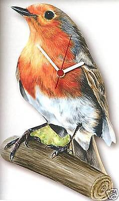 Robin Red Breast Song Bird Wooden Wall Clock NEW Boxed