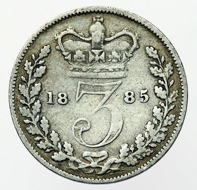 1885 Threepence Victoria Young Head (554)