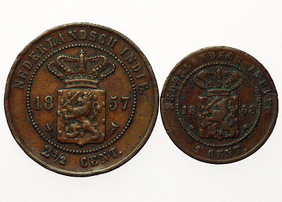 Netherlands East Indies 1858 Cent & 1857 2 1/2 Cents