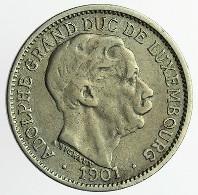 1901 Luxembourg 10 Centimes ~ KM#25 Adolphe