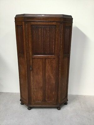 Antique Oak Hall Wardrobe LinenFold Front Super Quality Good Colour