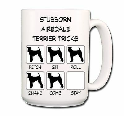 AIREDALE TERRIER Stubborn Tricks EXTRA LARGE 15oz COFFEE MUG