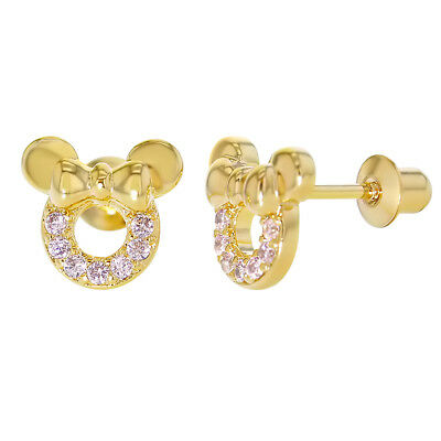 18k Gold Plated Pink Cubic Zirconia Small Mouse Screw Back Baby Kids Earrings