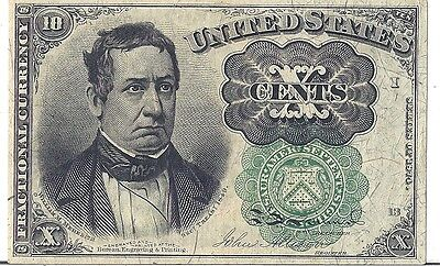 1874 US Fractional Currency Civil War 10c F1264 Green Seal, 5th Issue, Meredith*