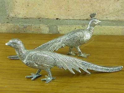 2 nice vintage Pheasent table decorations place name Menu Holders silver plated
