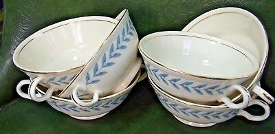 SET OF 6 Edwin Knowles China BLUE LAUREL Gold Trim BOUILLON SOUP BOWLS Mint!