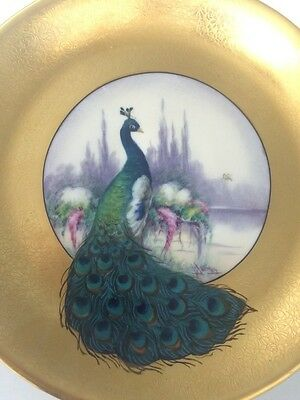 """PICKARD SIGNED Etched Peacock Gold Rim Handled Plate Cake Tray RARE 10.5"""" EUC"""