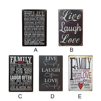 Family Rules Metal Tin Plaques Wall Door Vintage Love Signs Home Decoration New