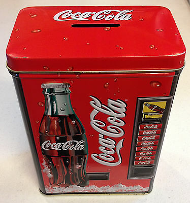 Coca Cola Collectible Tin Bank Beverage Vending Machine   Clean and Sharp!