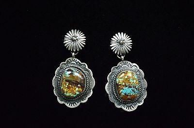 Native American Navajo Indian Jewelry SS Number 8 Turquoise Stamp Earrings