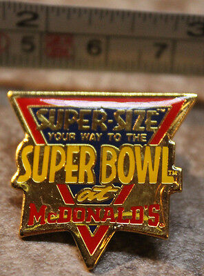 McDonalds Super Size SuperBowl NFL Employee Collectible Pinback Pin Button