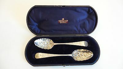 Cased Set 18th C. GEORGIAN Sterling Silver BERRY Spoons, c. 1785