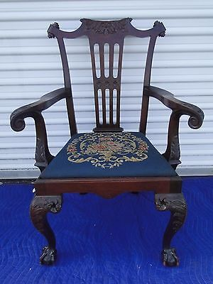 Antique Mahogany Carved Ball & Claw Foot Chippendale Philadelphia Arm Chair