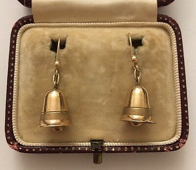 Vintage Yellow Gold C&F Bell Shaped Dangle Earrings On Yellow Gold Wires