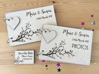 Personalised Wedding Photo Album / Guestbook Engraved Wood Cover Tree / Birds
