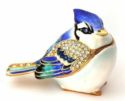 Blue Tit Trinket Box British Song Bird Jewelled Enamel Pill box CLEARANCE