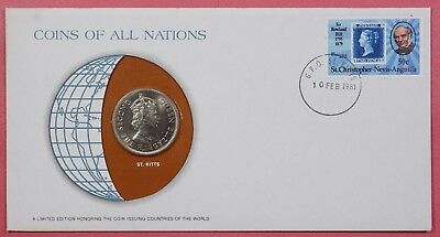 Coins Of All Nations Cover 1981 With Genuine St Kitts Gb Caribbean Coin & Cancel