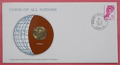 Coins Of All Nations Cover 1983 With Genuine Senegal Coin & Cancel