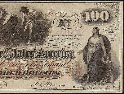 1862 $100 Dollar Bill Confederate States Currency Civil War Hoer Note T-41 Au