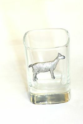 Pewter Goat   on Crystal Shot Tot Glass Cup Ideal  Gift