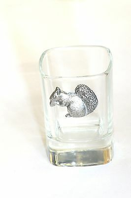 Pewter Squirrel on Crystal Shot Tot Glass Cup Ideal  Gift