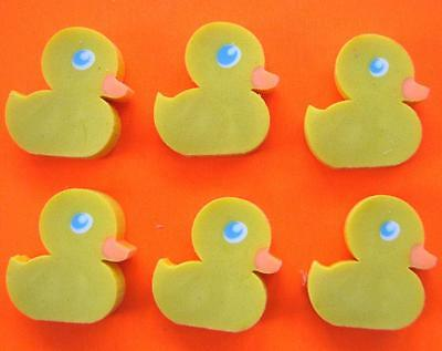Bulk Lot x 24 Mini Yellow Duck Rubber Erasers 2cm Size Party Favors Novelty NEW