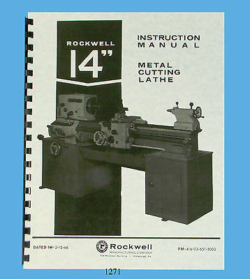 """Rockwell 14"""" Lathe Operation, Service, & Parts List Manual  Early Version  *1271"""