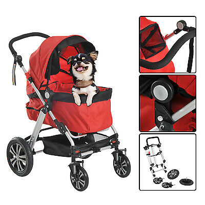 Pawhut Pet Travel Stroller Walk Pushchair Dog Puppy Cat Foldable W/ 4 Wheels Red