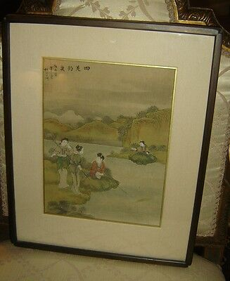 Antique Qing Ink And Colour On Silk Scroll Painting Ladies Fishing River Signed