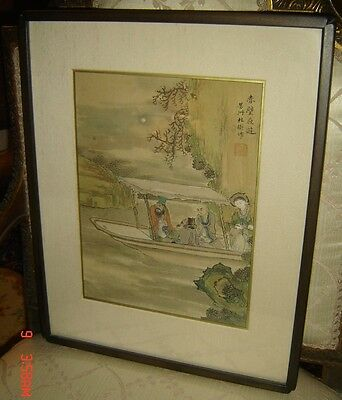 Antique Qing Ink And Colour On Silk Scroll Painting Signed Du Fangzhou Immortals