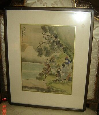 Antique Qing Ink And Colour On Silk Scroll Painting Immortals Signed Du Fangzhou
