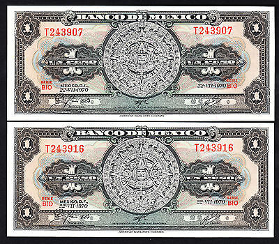 Mexico 1970 Mexico Peso 2 UNC Notes P. 59 L Serie BIO